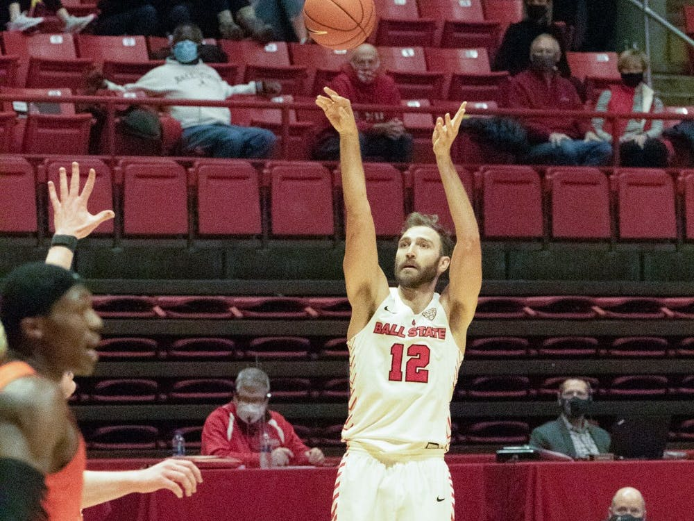 Ball State Cardinals redshirt senior forward Brachen Hazen shoots the ball Feb. 16, 2021, at John E. Worthen Arena. The Cardinals lost to the Falcons 62-75. Madelyn Guinn, DN