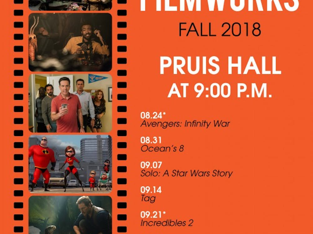 University Program Board's Friday Night Filmworks fall schedule listed to show at Pruis Hall at 9 p.m.