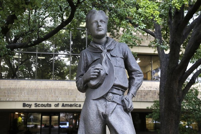 In this Feb. 12, 2020, photo, a statue stands outside the Boys Scouts of America headquarters in Irving, Texas. The Boy Scouts of America has filed for bankruptcy protection as it faces a barrage of new sex-abuse lawsuits. (AP Photo/LM Otero)