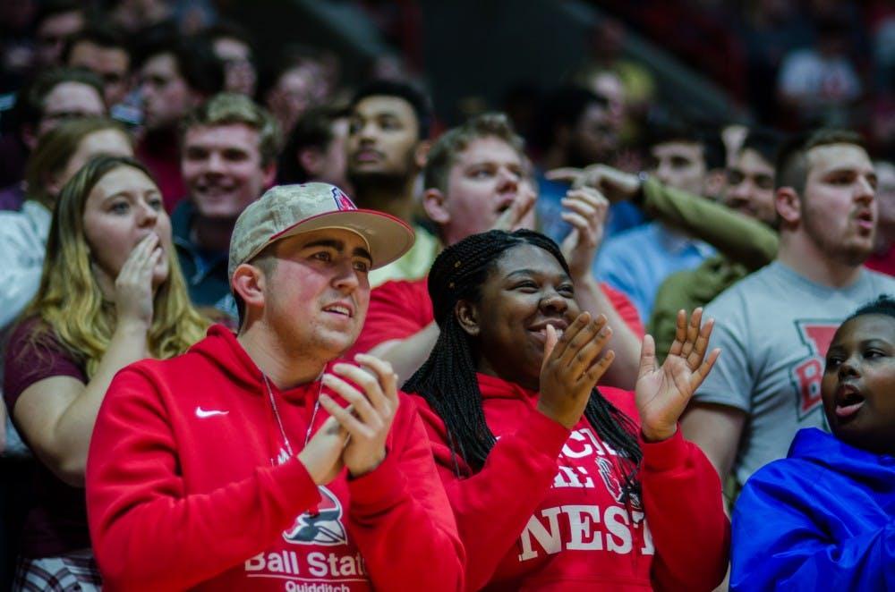 <p>The student section cheers on the Ball State men's basketball team during the game against Kent State on Feb. 9 at John E. Worthen Arena. Ball State defeated Kent State 87-68. <strong>Stephanie Amador, DN</strong></p>