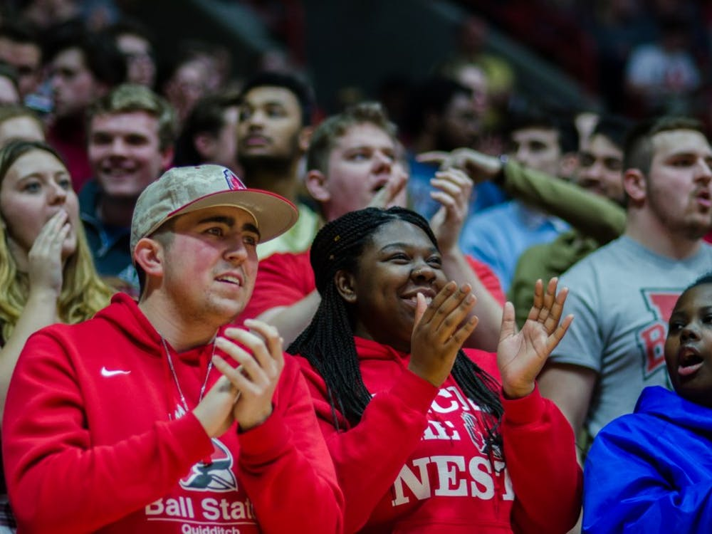 The student section cheers on the Ball State men's basketball team during the game against Kent State on Feb. 9 at John E. Worthen Arena. Ball State defeated Kent State 87-68. Stephanie Amador, DN