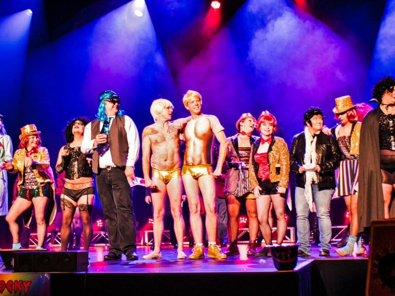 Contestants of the costume contest and actors of the Francis Bacon experiment on stage.