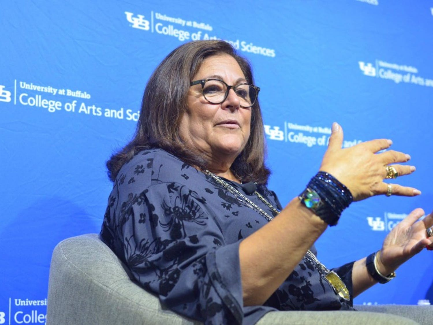 "Fern Mallis, creator of New York Fashion Week and UB alum, spoke in Hayes Hall as part of UB's new ""Lessons Learned"" alumni speaker series. Mallis spoke on Thursday about her successes in the fashion industry and time as a UB student."