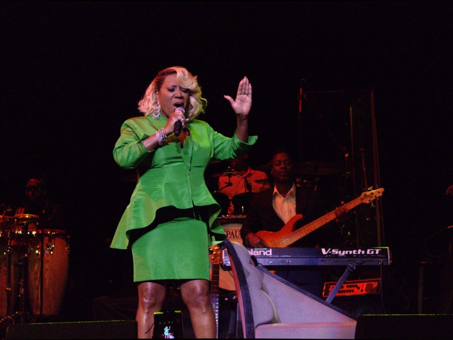 """Patti Labelle glows in her """"favorite color"""": green. The legendary singer delighted over 2,000 Rochesterians and others from around the country in a soulful performance on Saturday."""