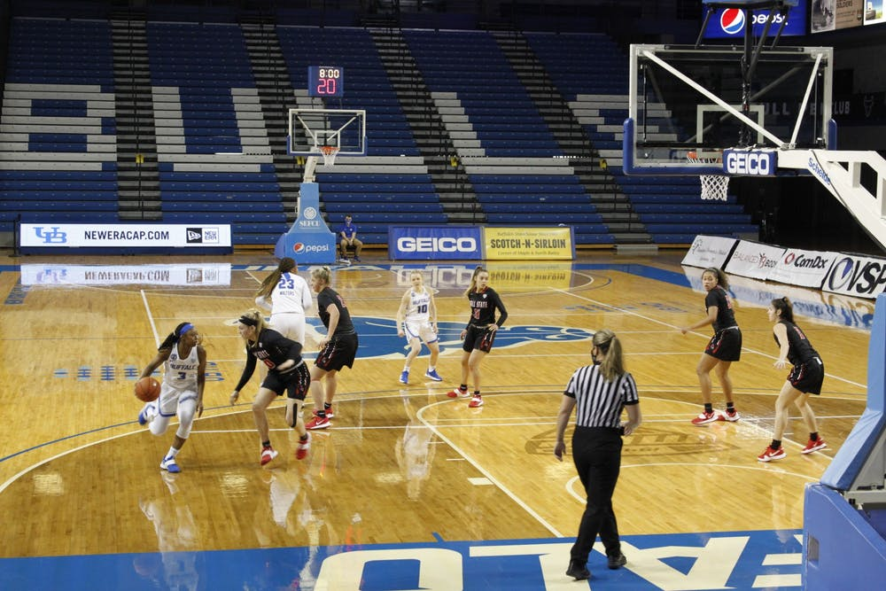 <p>UB women's guard Jazmine Young (3) dribbles the ball during a recent game against the Ball State Cardinals.</p>