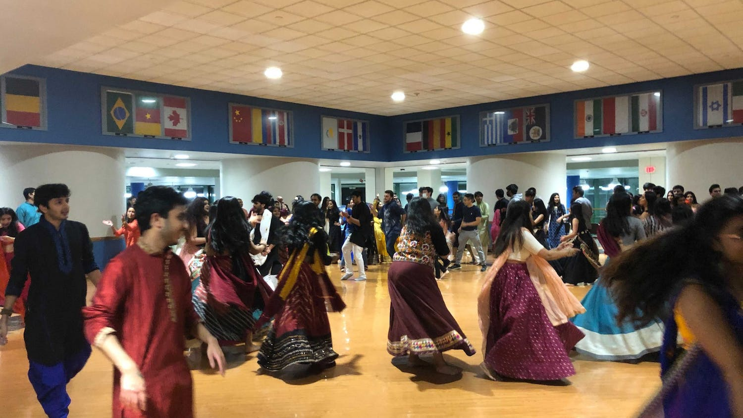 """Students dance during the annual """"Garba Night."""""""
