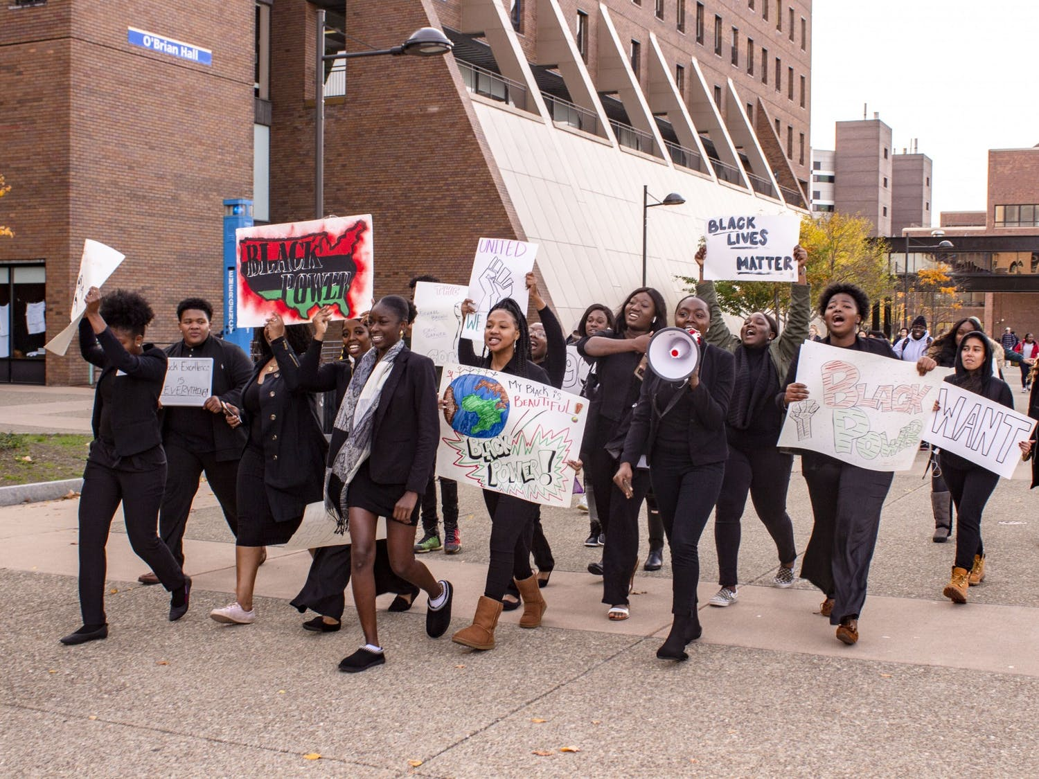 Students at the unity rally on the academic spine as part of Monday's Black Solidarity Day.