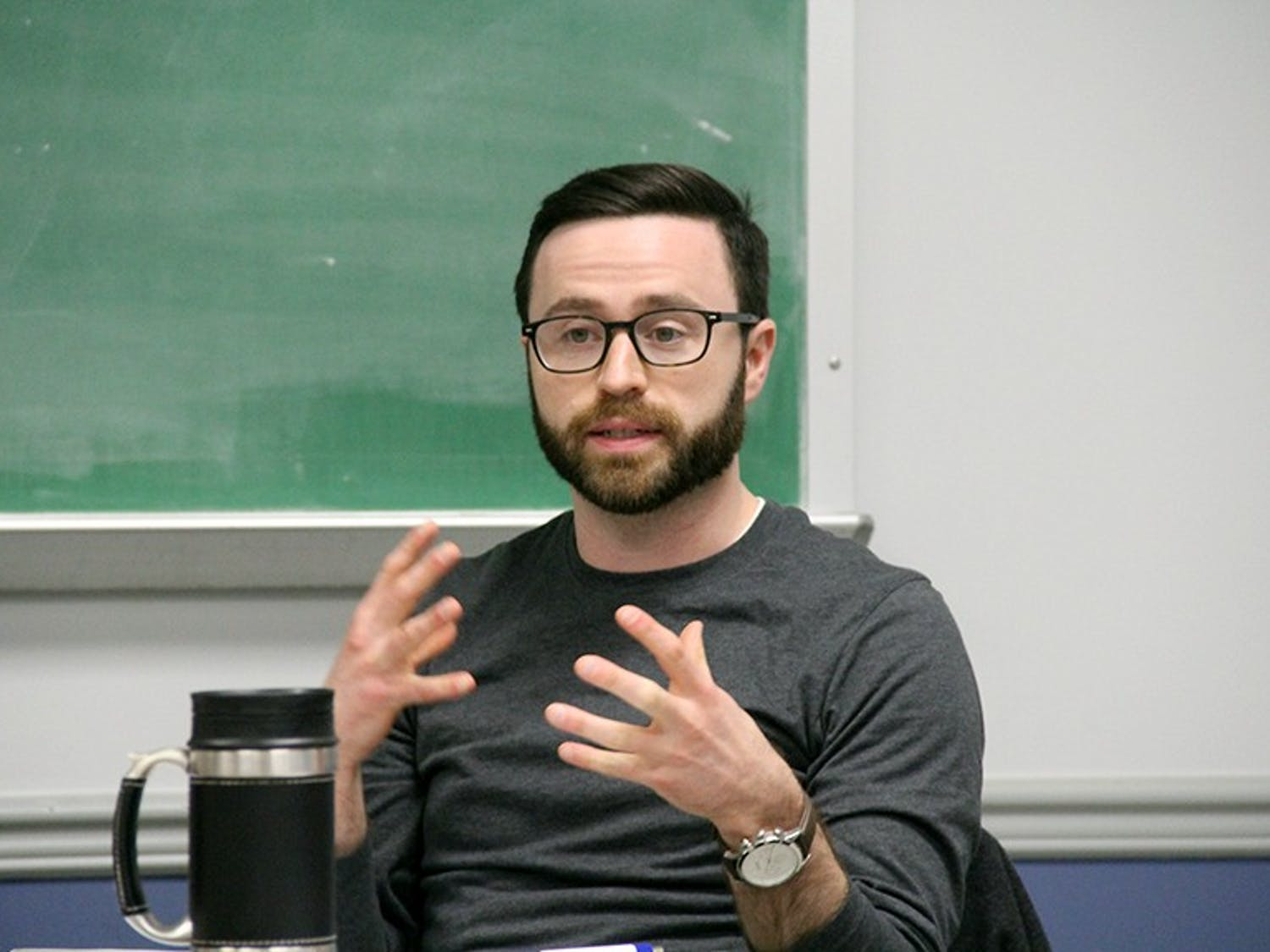 Luke Haumesser, the president's designee, attends a meeting with student government leaders. On Thursday, the student-led council of advocacy and leadership met to discuss a potential new budgeting process and UB's smoking policy.