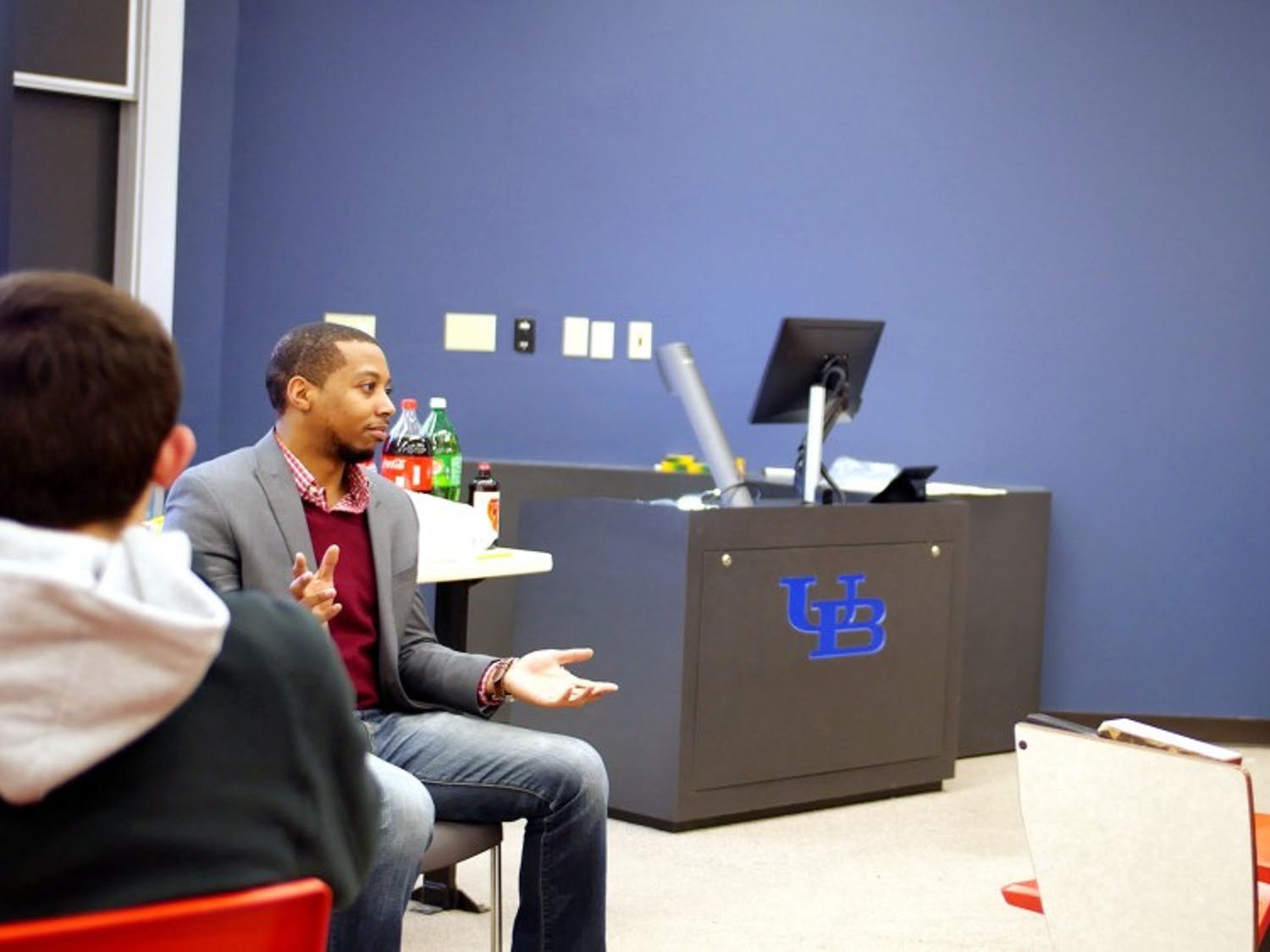 Students attending one of the Society for Political and International Affairs' general body meetings. The club, a nonpartisan group interested in current events, gained temporary status last fall.