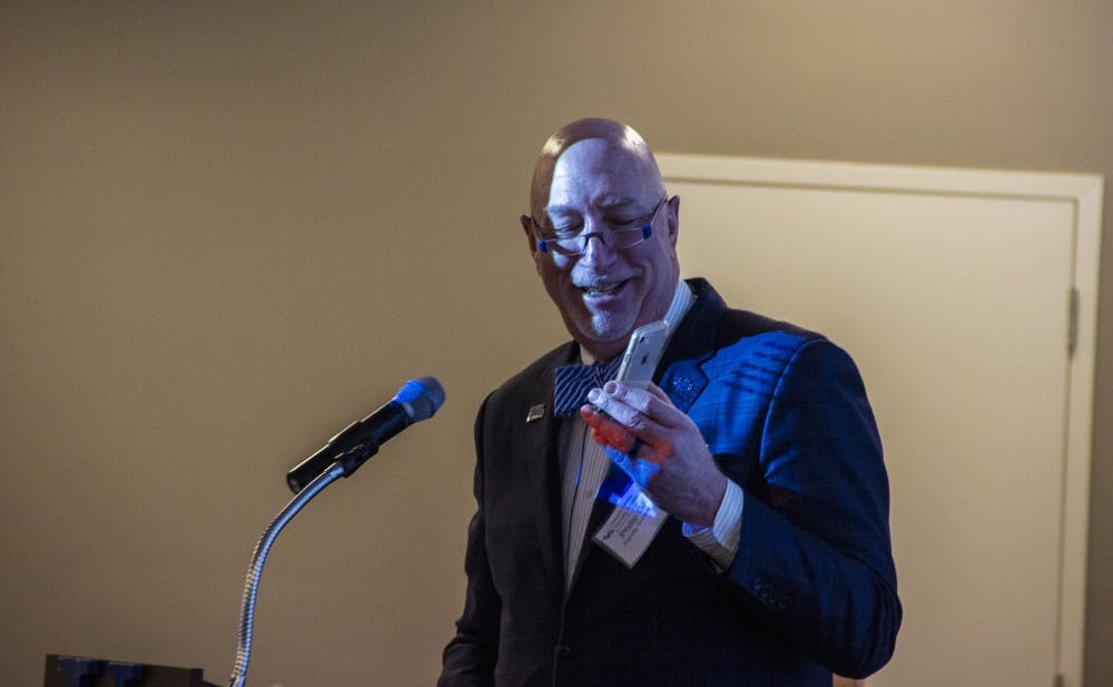 <p>SUNY Chancellor Kristina Johnson and Provost Tod Laursen spoke on speaker phone at UB's Shared Governance Day. The fourth annual celebration on Tuesday emphasized the importance of collaboration in UB's decision making.</p>