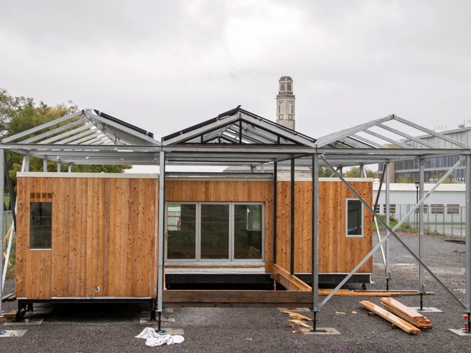 After making its 2,500 mile journey from Irvine, California, UB's award winning GRoW Home is being reconstructed on South Campus, adjacent from Haynes Hall.