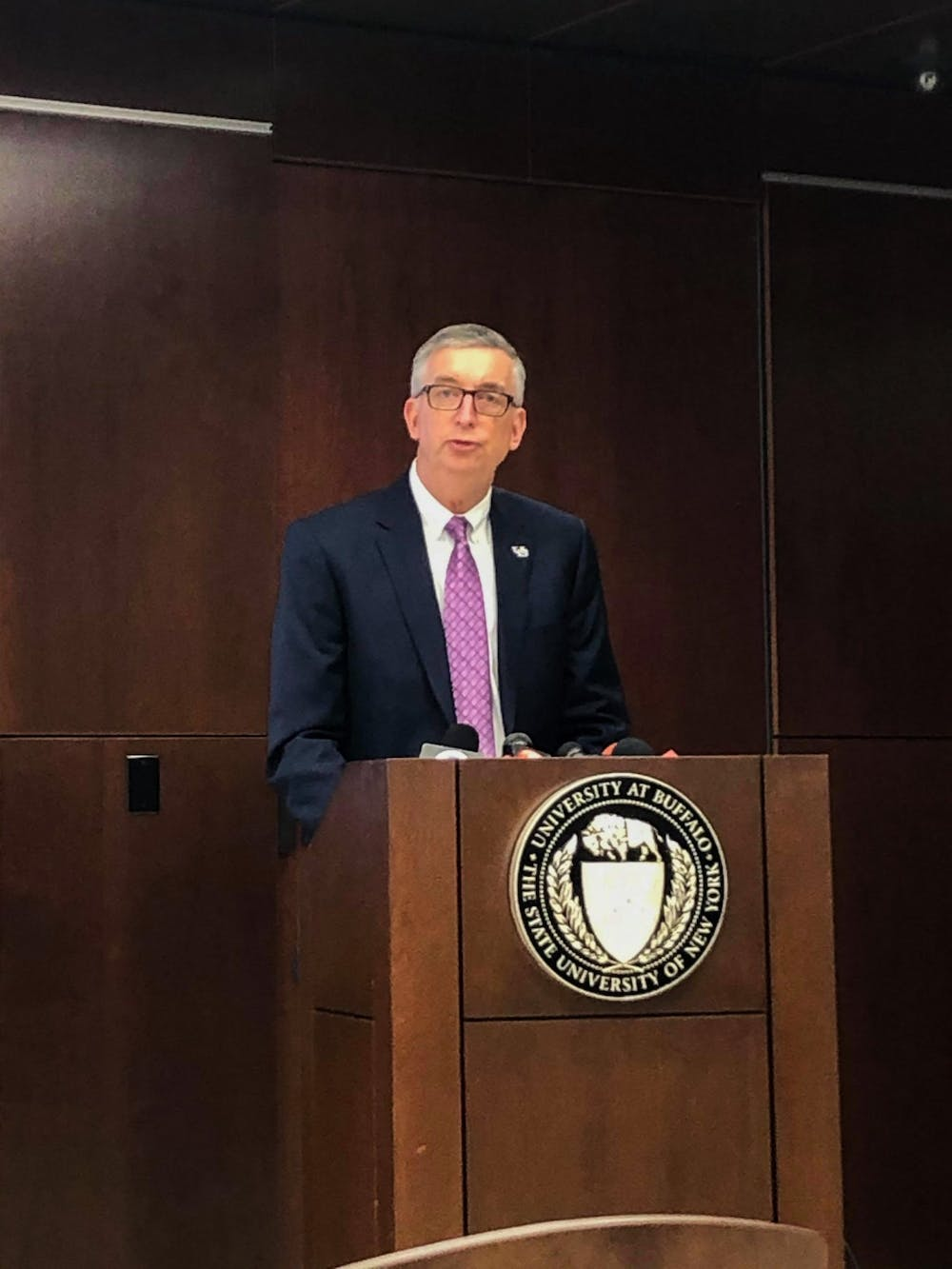 <p>Provost A. Scott Weber discussing UB's coronavirus plans at a press conference Wednesday.</p>