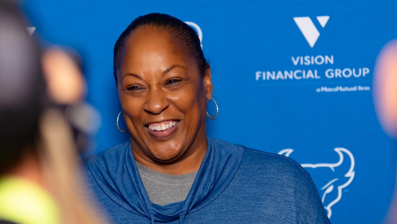 Women's basketball coach Felisha Legette-Jack talks to reporters following basketball practice last week.
