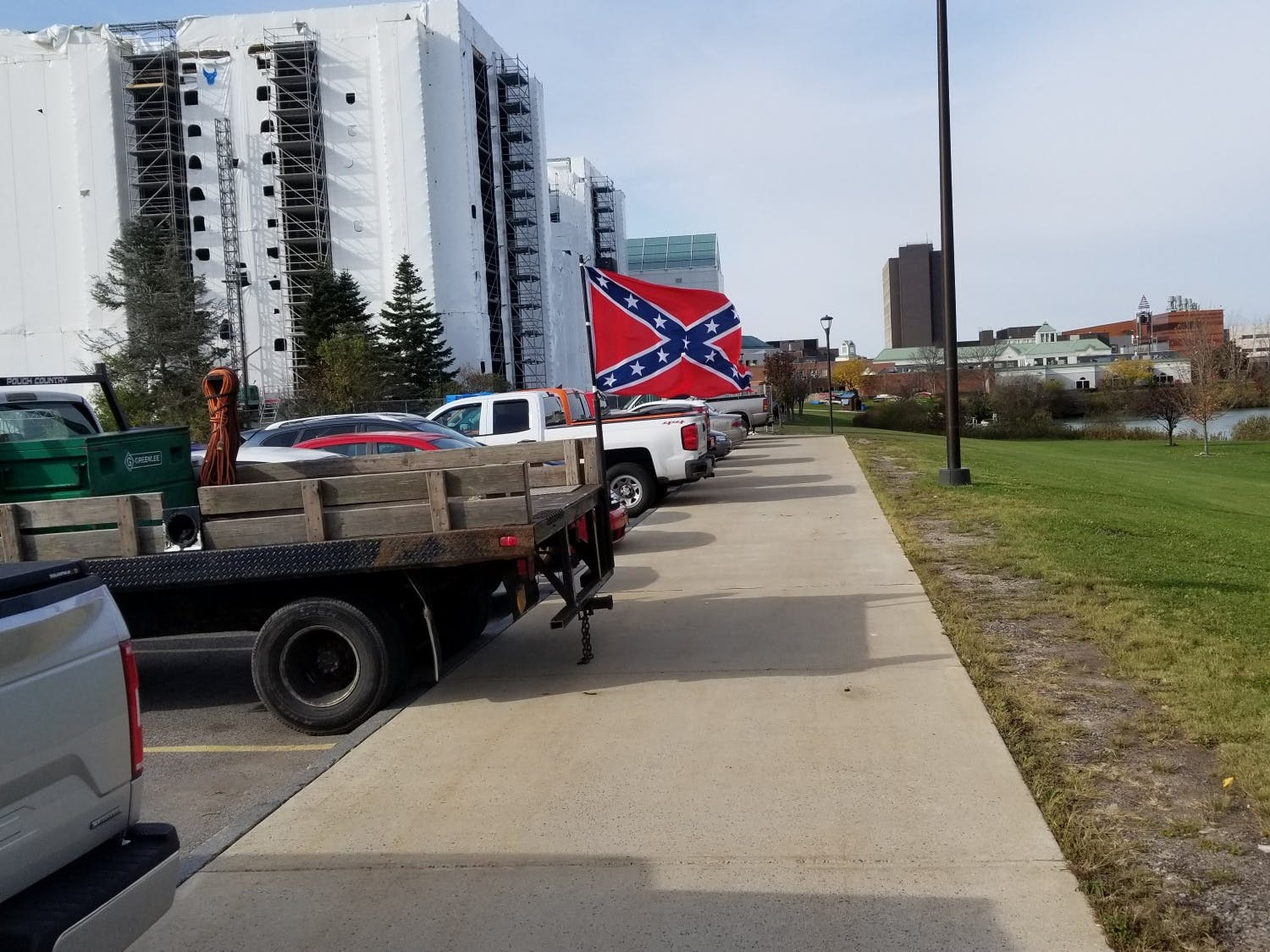 The Confederate Flag was displayed on the back of a Dodge truck on Monday. The truck is owned by a worker on the $12 million CFA construction project.