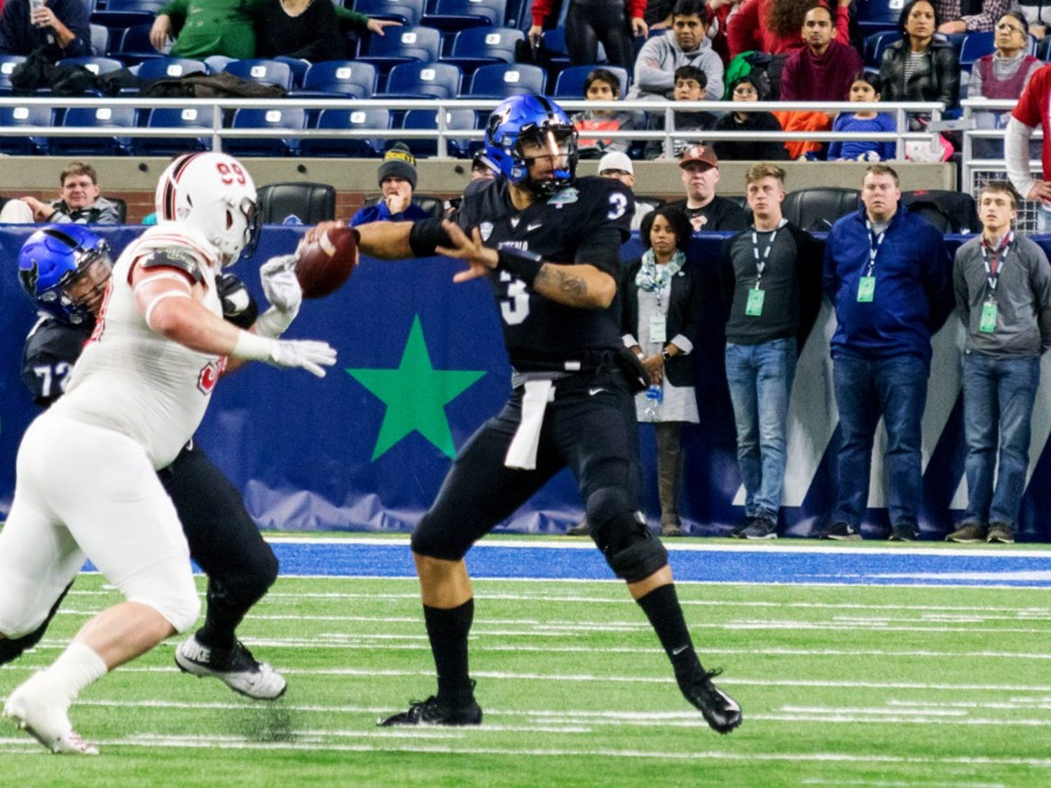 Tyree Jackson sets for a throw during the MAC Championship game. Jackson blew scouts away with his physical attributes during the NFL Combine this weekend.