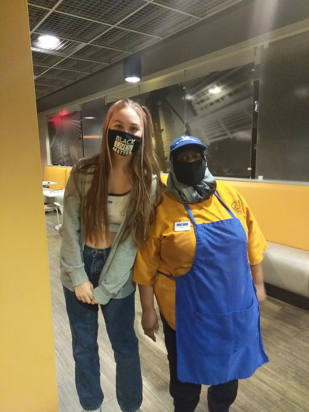 <p>Equashia Mumeen (right) says she loves the support she has received and hopes to form a demonstration alongside students and staff protesting CDS' face mask policy</p>