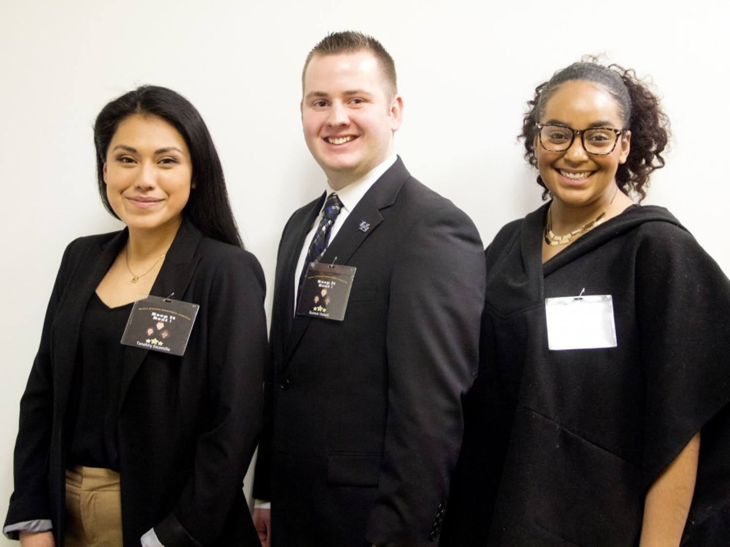 """Treasurer candidateTanahiry Escamilla, presidential candidate Gunnar Haberl and vice presidential candidateAnyssa Evelyn are running unopposed for SA e-board on the R.E.A.L. party ticket. The candidates said their main goal is to """"restore effective, accountable leadership."""""""