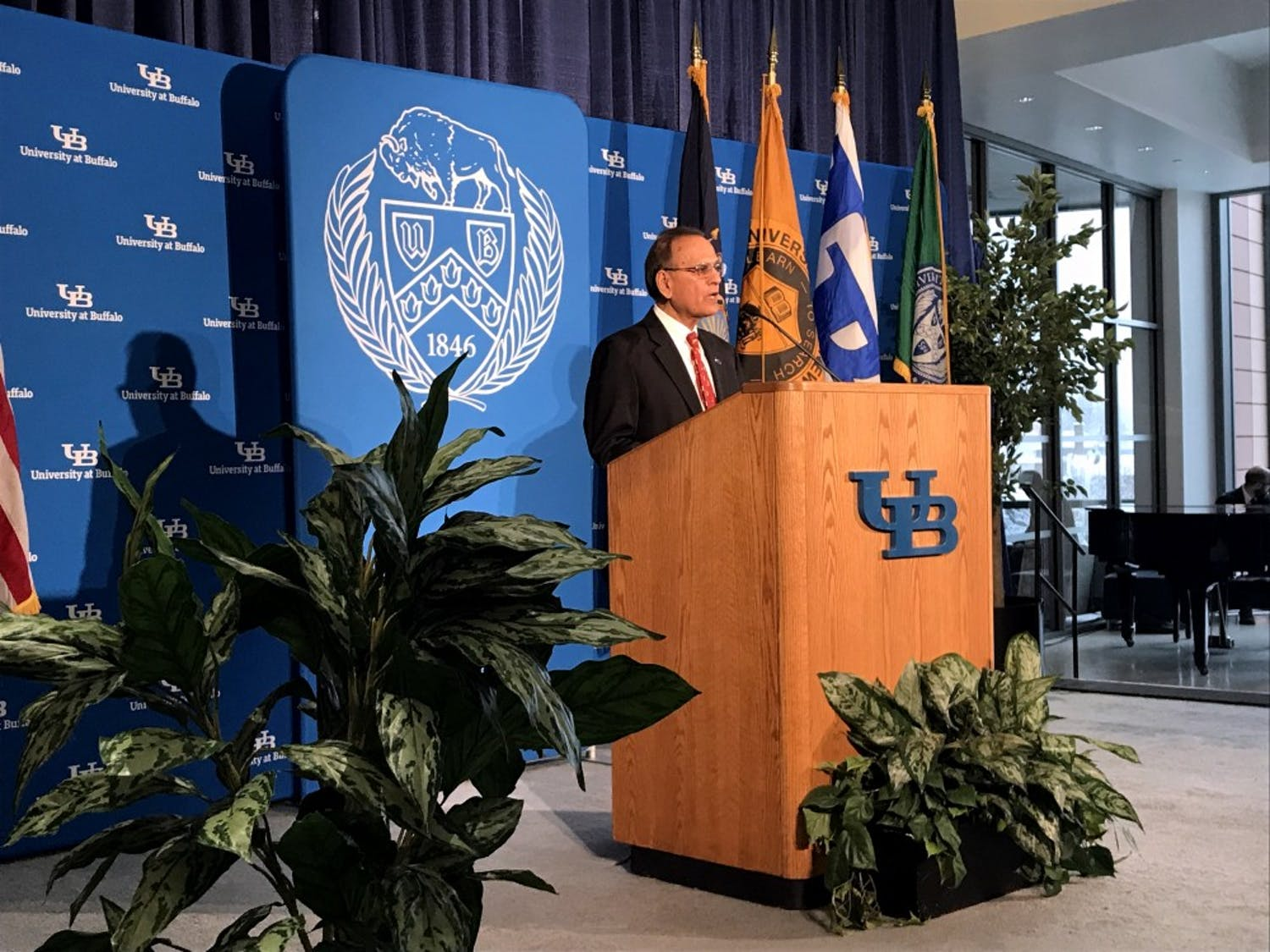 "UB President Satish Tripathi addressed a standing room only crowd at the grand opening of the new Jacobs School of Medicine and Biomedical Sciences downtown location Tuesday morning. Tripathi described the new building as a ""state-of-the-art, 21st century facility."""