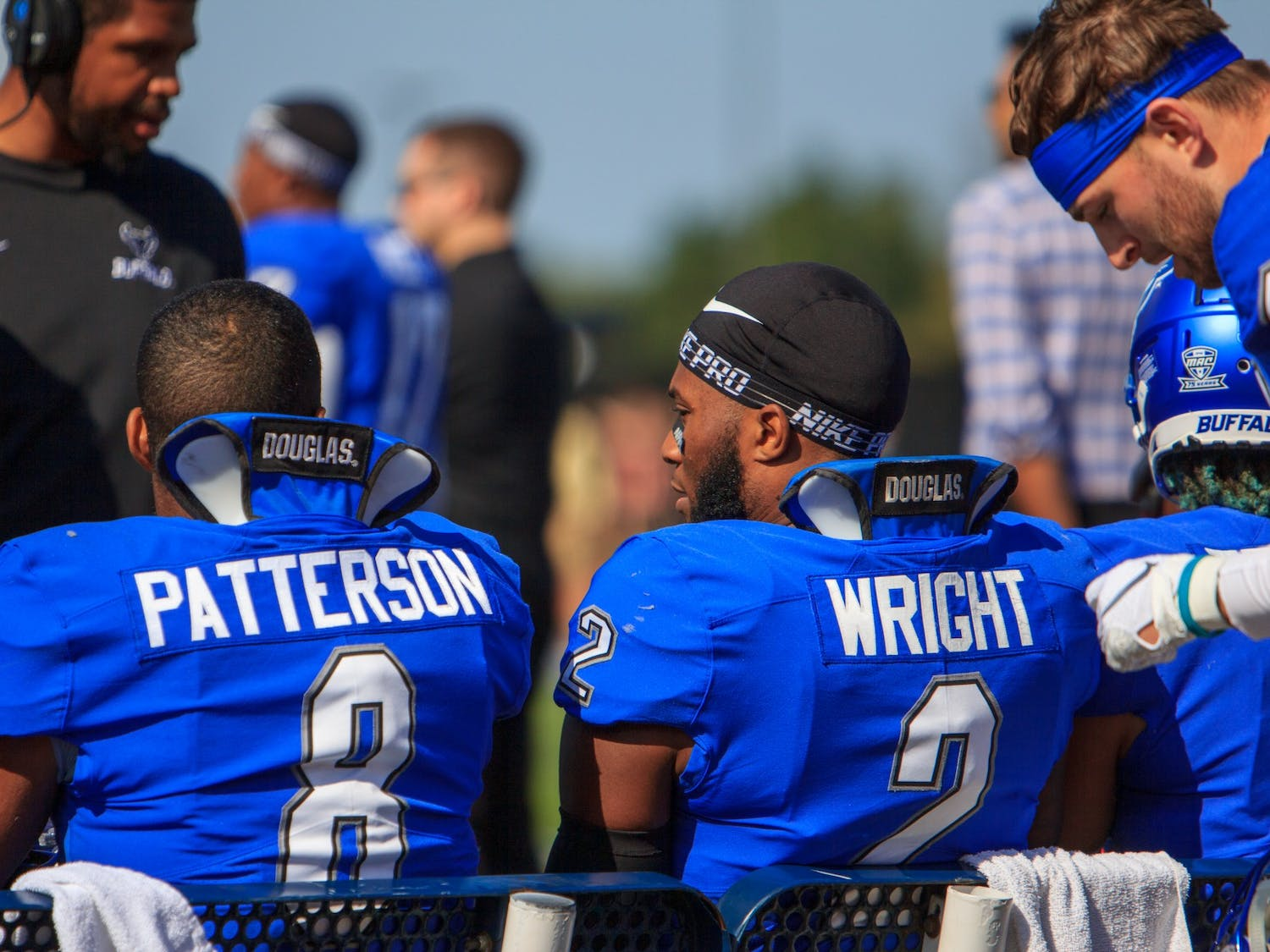 UB linebackers James Patterson (8) and Kadofi Wright (2) have different personalities and playing styles, but they are both forces on the field for the Bulls.