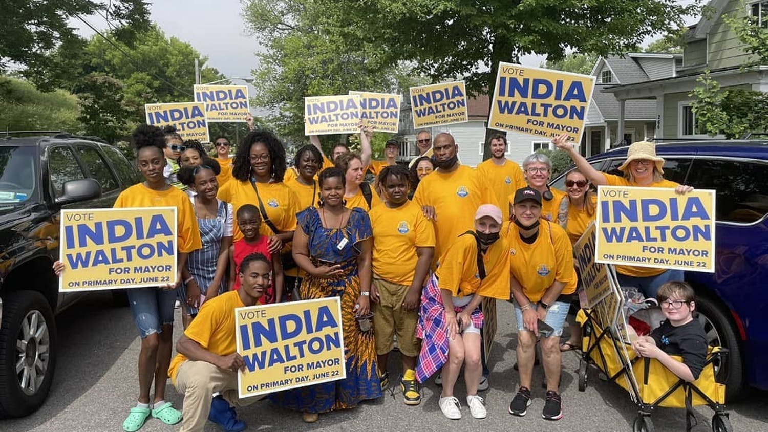 Buffalo mayoral candidate India Walton poses with supporters during the lead-up to the Democratic primary.