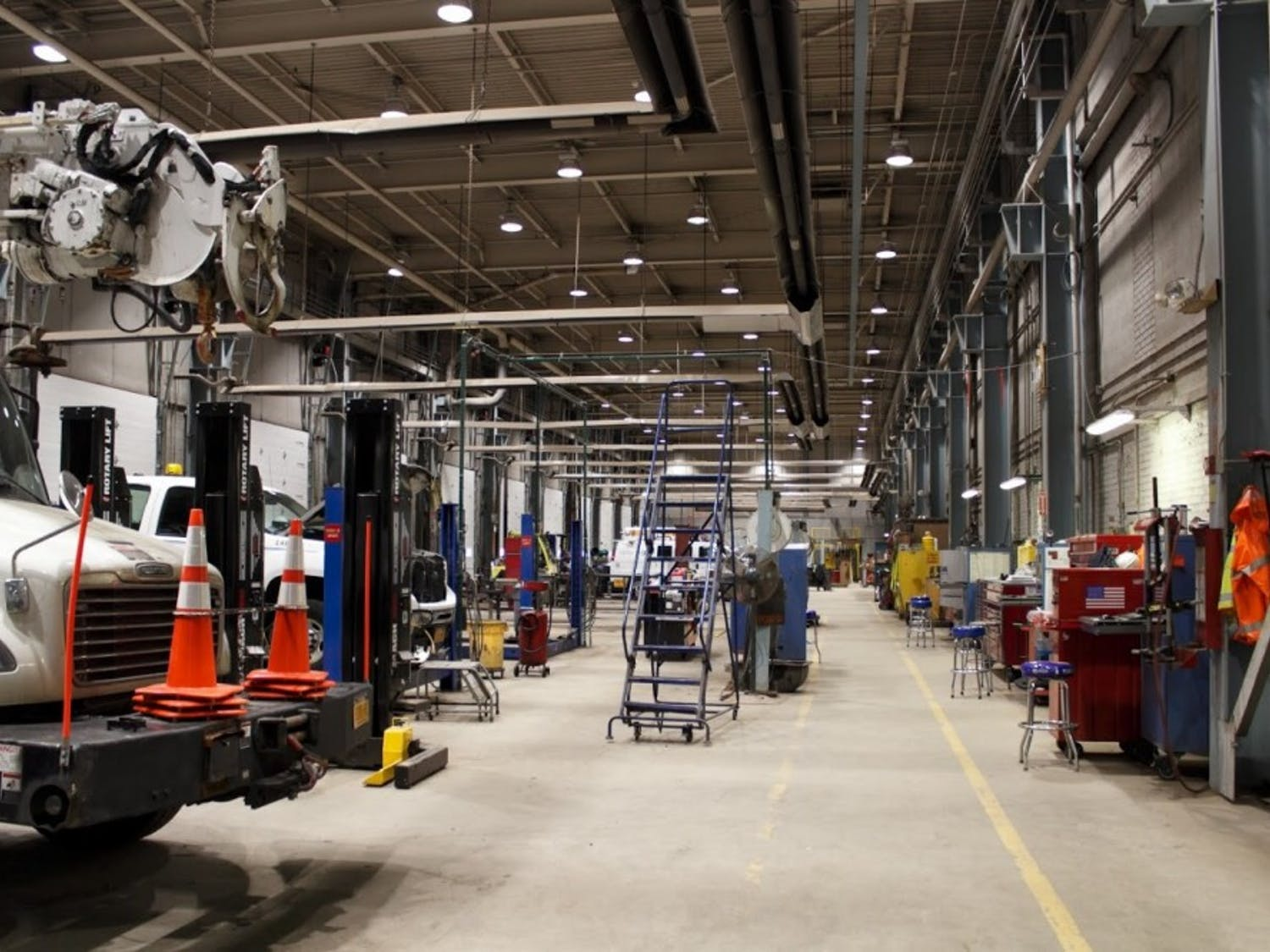Inside the National Grid building in Buffalo. UB students recently helped National Grid reduce its carbon footprint.