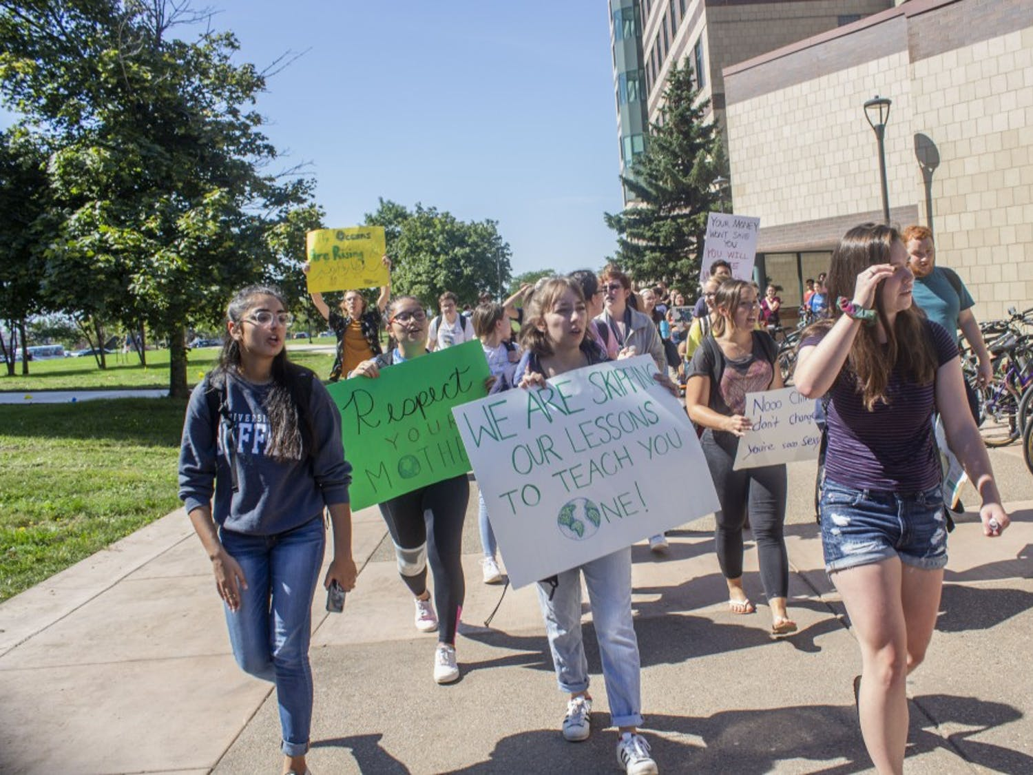 UB students protesting the fossil fuel industry Friday.