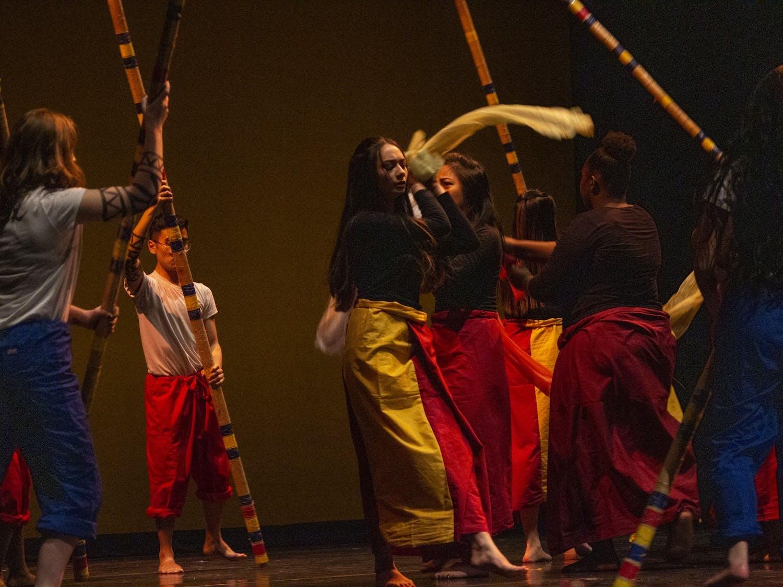 Students from Filipino American Student Association performing at International Fiesta.