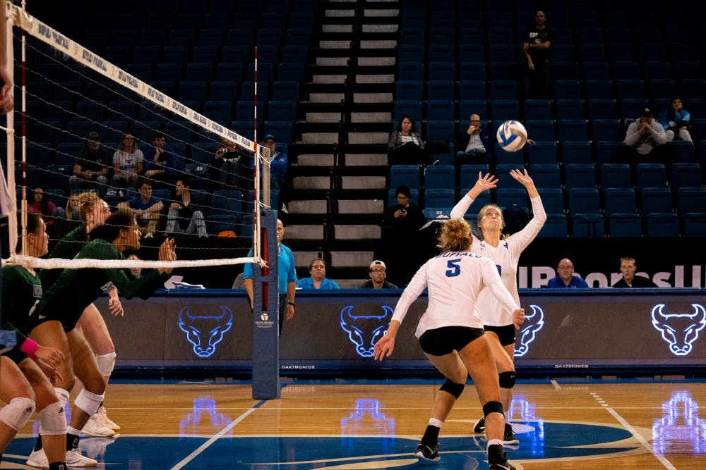 <p>Setter Scout McLerran raises the ball. UB's volleyball season came to an end Friday night after a loss to Bowling Green in the quarterfinals.</p>