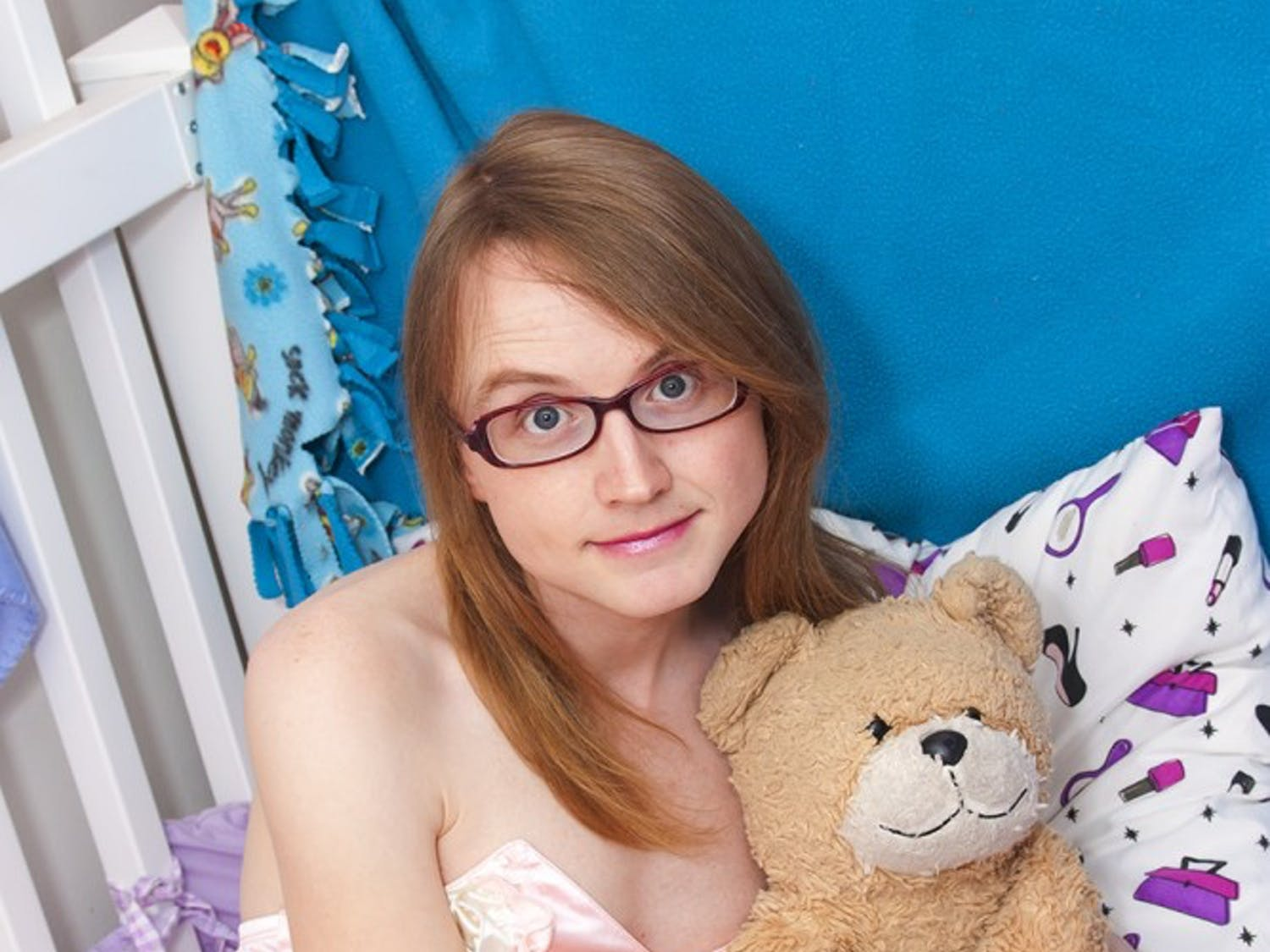 """""""Adult baby"""" Riley Kilo, who once appeared on """"My Strange Addiction,"""" poses with a teddy bear."""