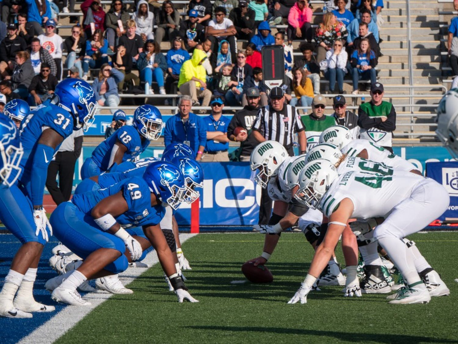 UB defends the end zone in last season's game against Ohio.