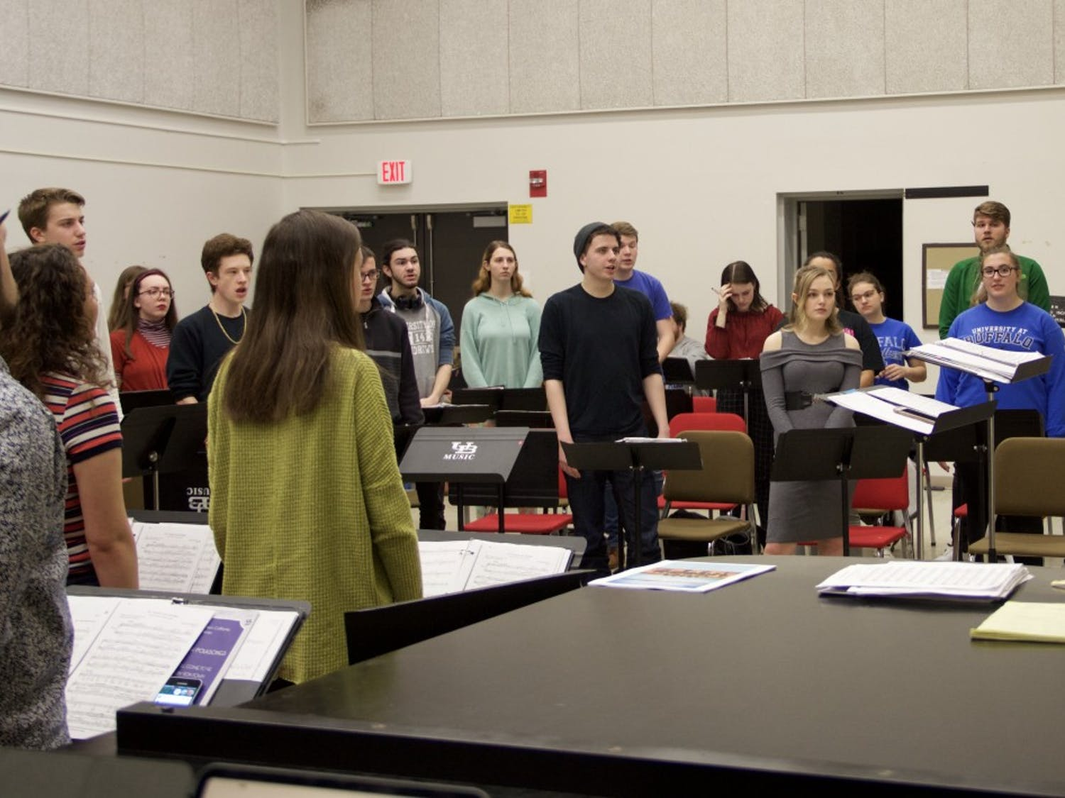 "The UB Choir practices for ""Love Songs from the British Isles."""