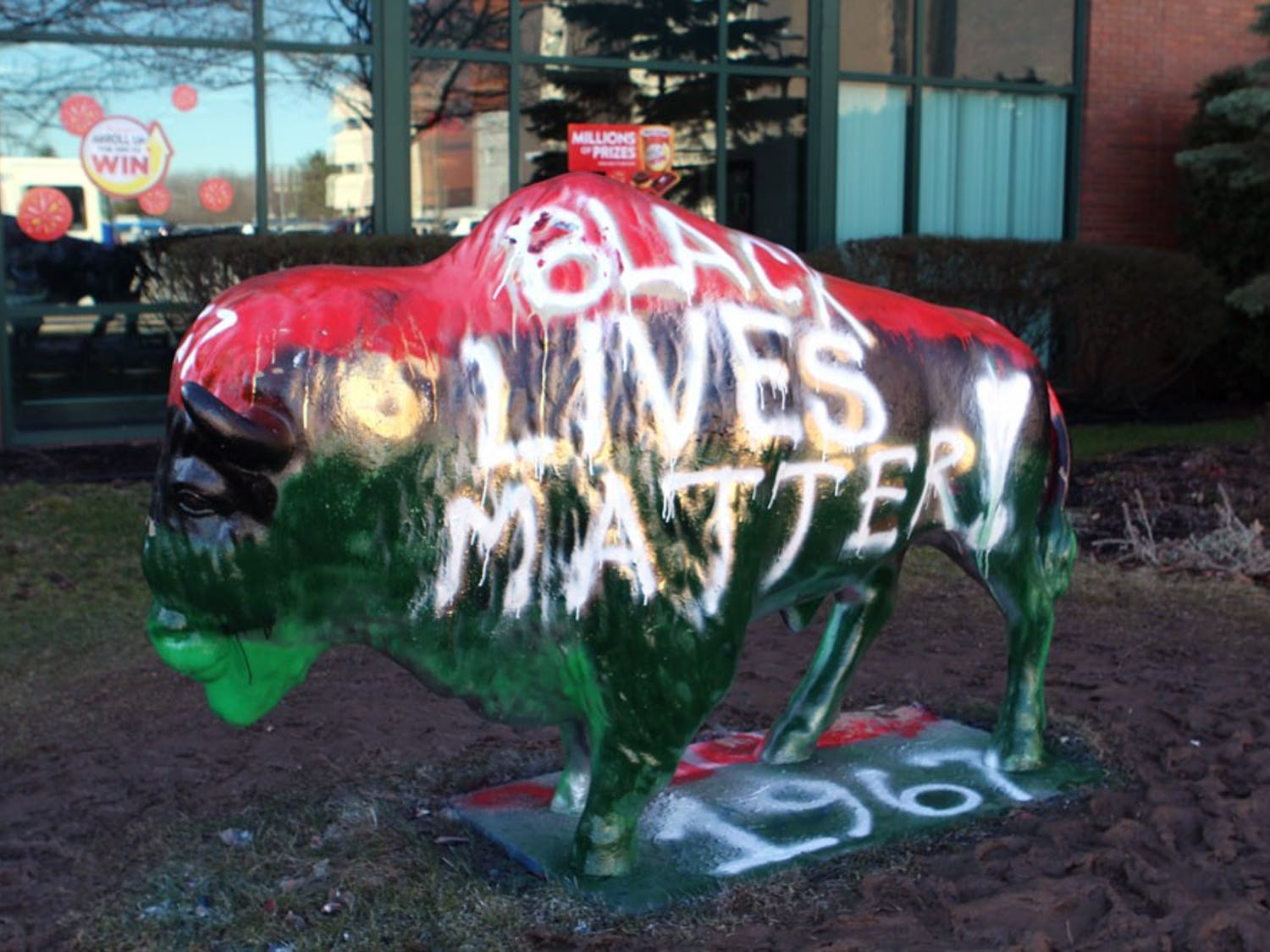 "Members of the Black Student Union painted ""Black Lives Matter"" on the bull outside of the Student Union on March 3, 2017."