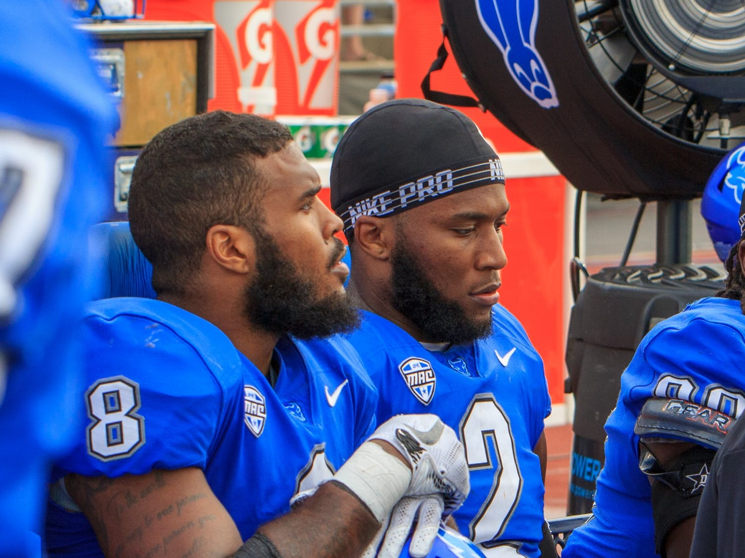 UB linebackers Kadofi Wright (2) and James Patterson (8) sit on the sidelines during a recent game. The Bulls lost to Kent State, 43-38, on Saturday.