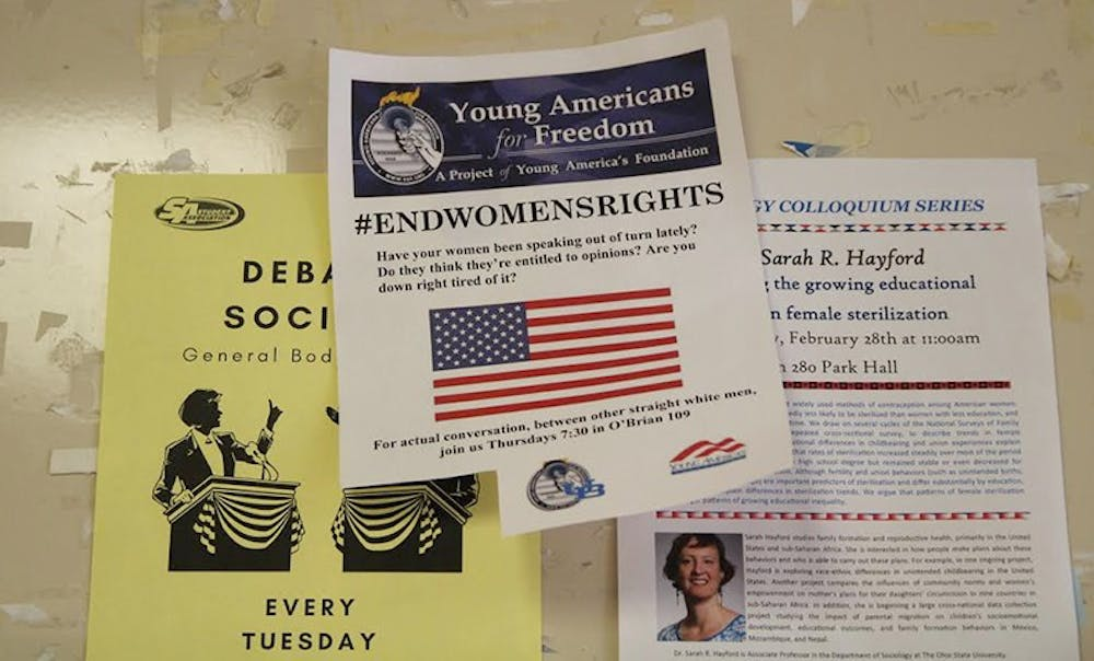 """<p>On Wednesday morning, """"#ENDWOMENSRIGHTS"""" flyers were posted on bulletin boards throughout halls like Norton, Knox and the Student Union. The fliers listed Young Americans for Freedom as its distributor but the club and UB deny members posted the messages.</p>"""