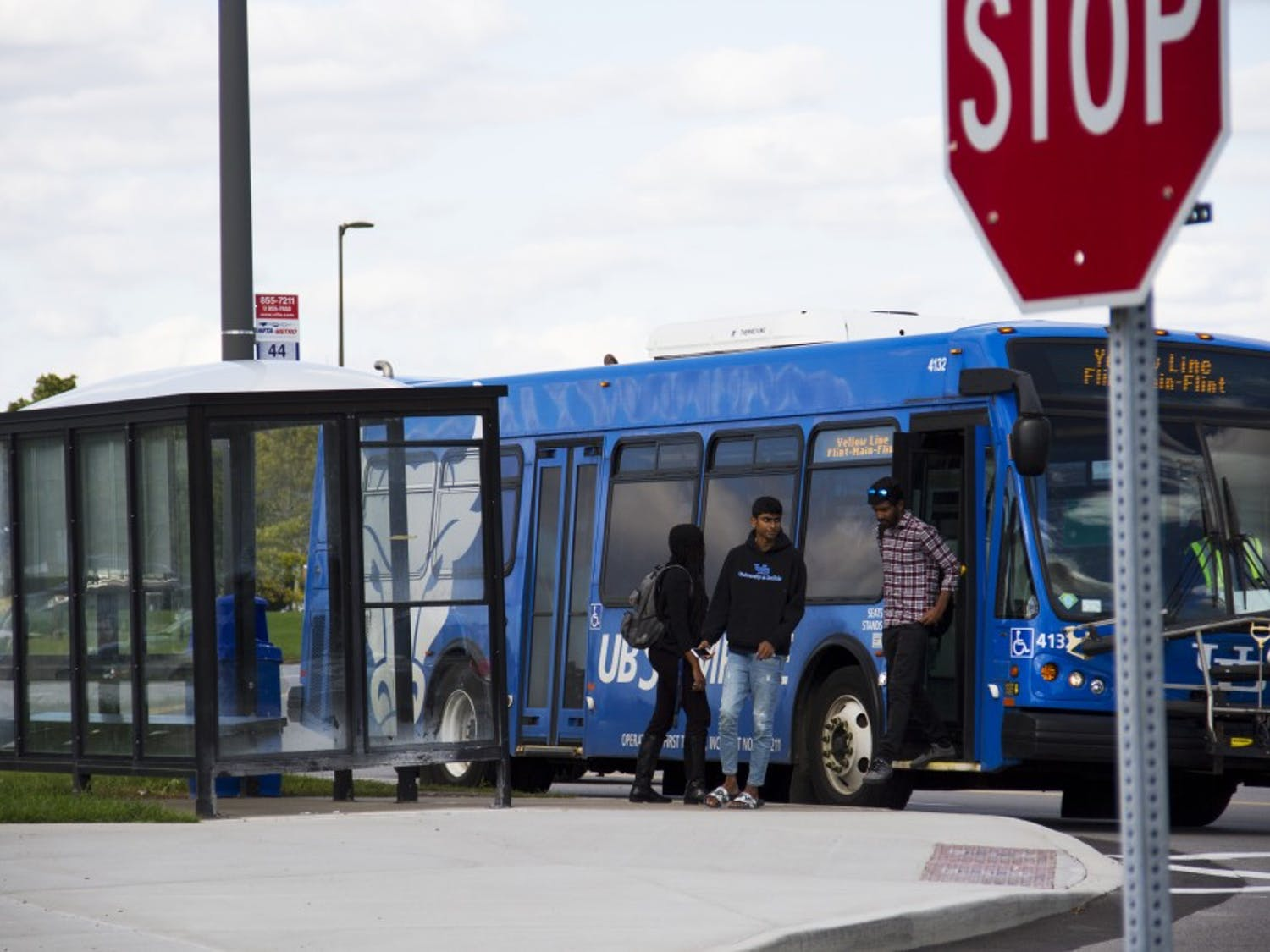 The Center for Tomorrow bus stop, close to restaurants such as Zetti's near North Campus, is just one of the many locations students can get to in order to enhance their UB experience.