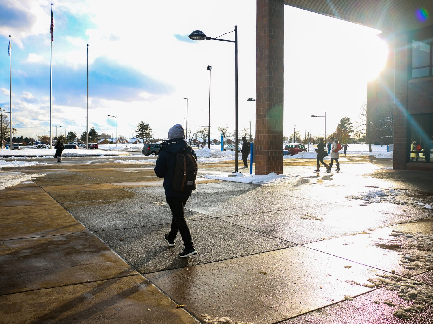 UB Students prepare for winter as the first snow arrives. Many were unprepared for the snowstorm that covered UB in eight inches of snow.