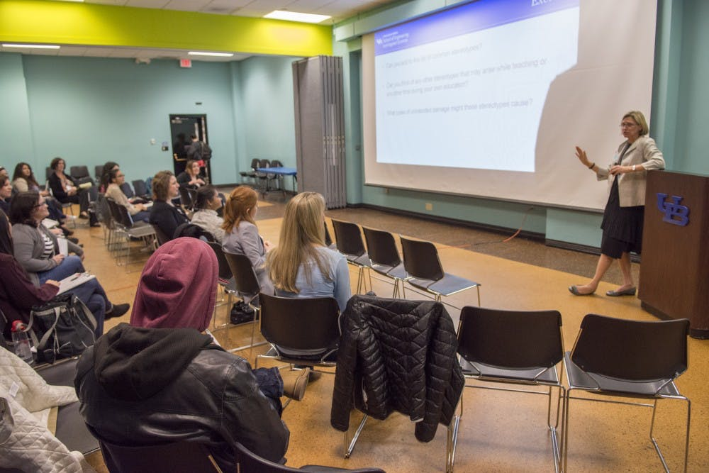 <p>Liesl Folks, dean of the college of science, engineering and applied sciences (SEAS) leads a discussion on gender bias in the classroom.&nbsp;</p>