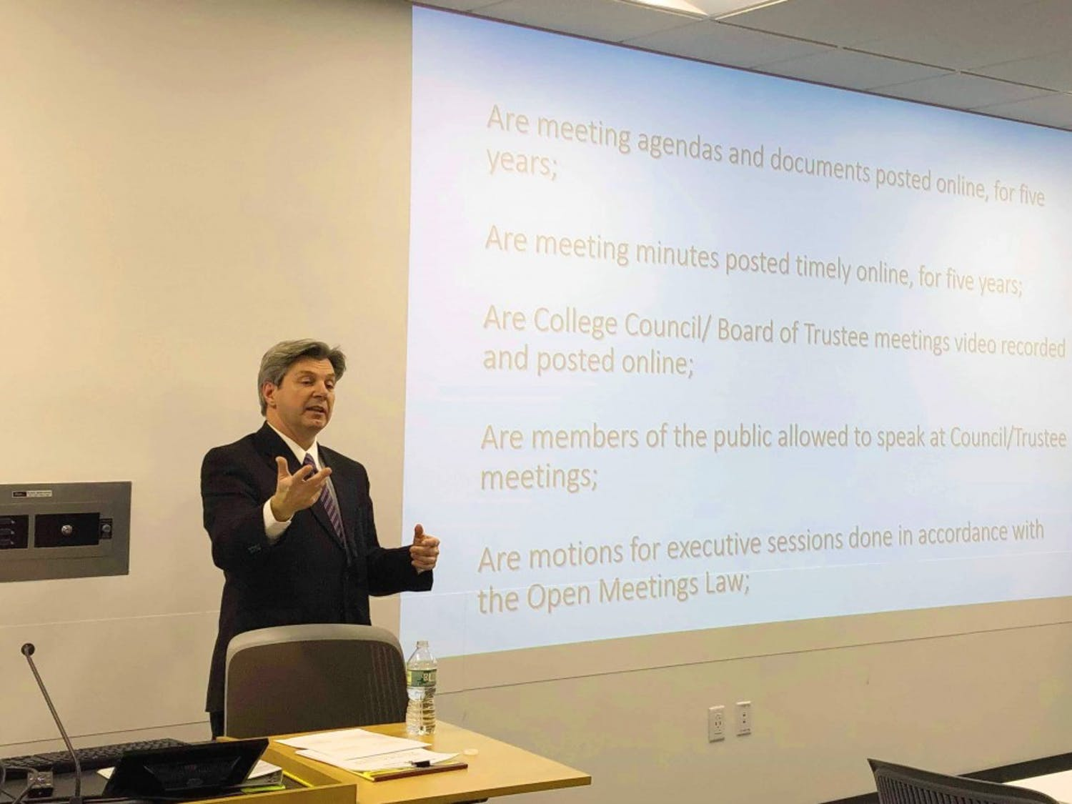 Local attorney Paul Wolf discussed open governance and transparency at UB on Monday.