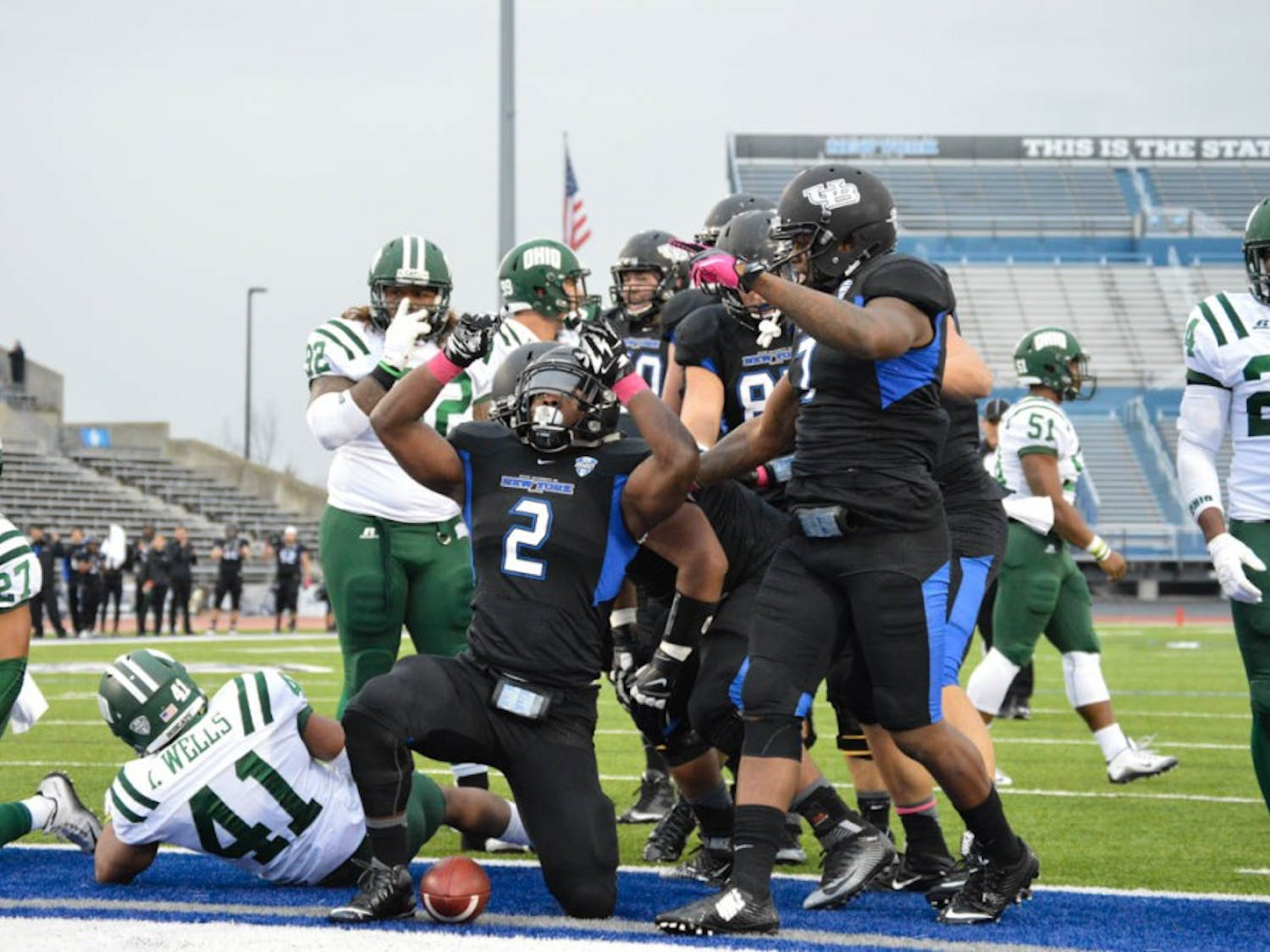 The football team (3-4, 1-2 Mid-American Conference) defeated Ohio (5-3, 2-2 MAC) 41-17 and captured their first conference win of the Leipold era at UB Stadium Saturday.