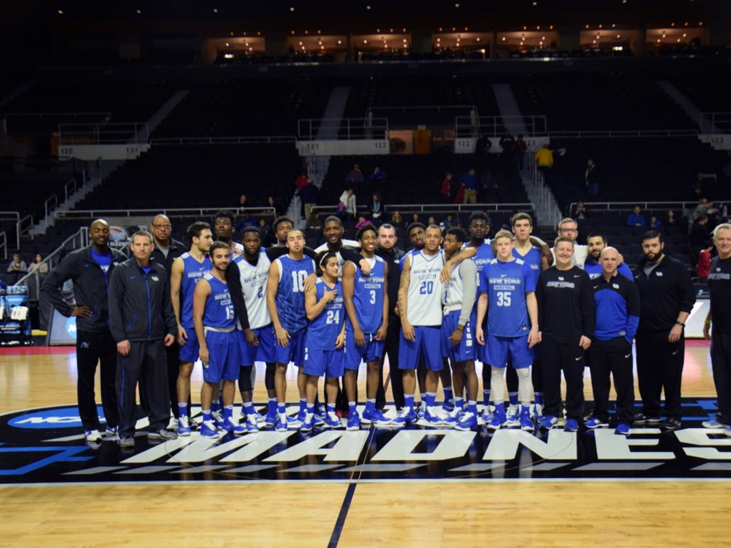 The Buffalo men's basketball team prepared for itsupcomingNCAA Tournament game against Miamiin the Dunkin' Donuts Center in Providence, Rhode IslandWednesday afternoon. The Bulls are a No. 14 seed and were loose in demeanor while both speaking to the media and practicing. Tipoff for Thursday's game is set for 6:50 p.m.