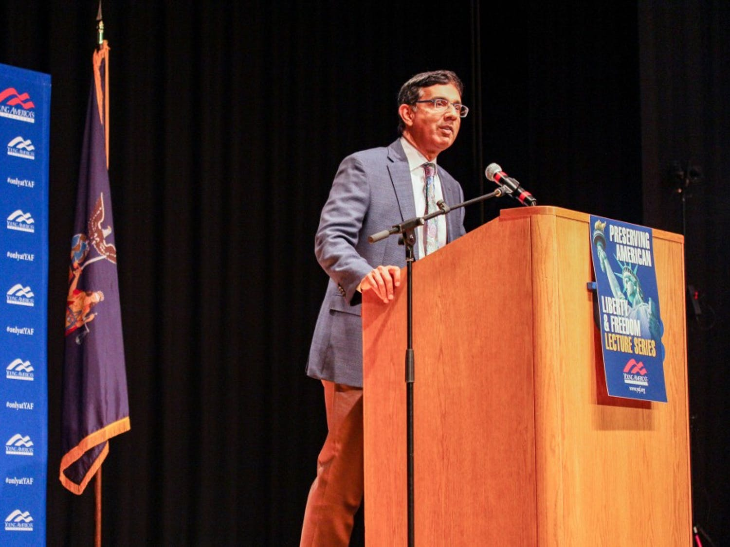 Dinesh D' Souza speaks at We Don't Need Socialism event organized by Young America's Freedom on Oct. 17, 2019.