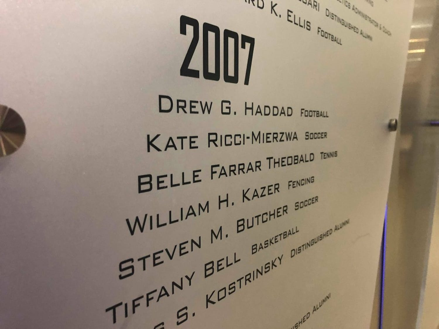 Steven Butcher's name on the UB Athletics Hall of Fame Wall. Butcher will have his sentencing trial on June 12, after pleading guilty to $45 million in insurance fraud.