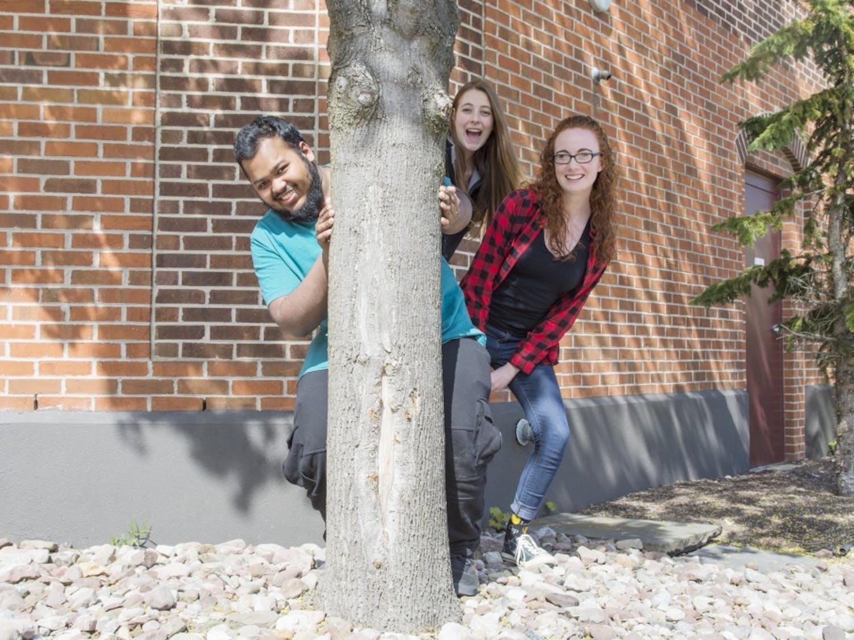 Copy Editors Saqib Hossain (left), Margaret Wilhelm (middle), Emma Medina (right) and Grace Trimper (missing from photo)