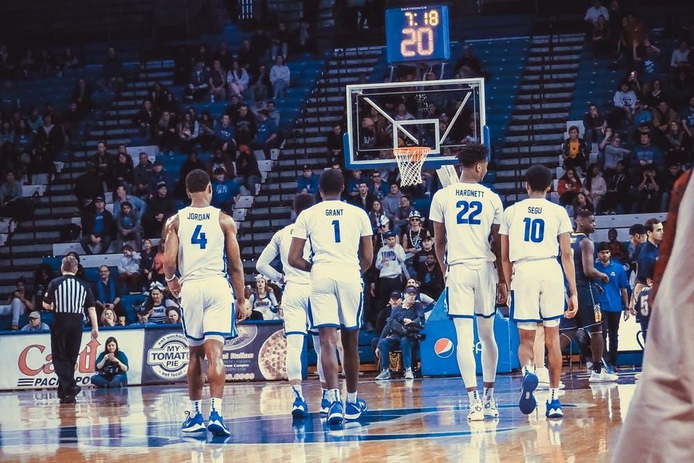 <p>The Buffalo Bulls lineup returns to the floor against Kent State following a timeout last season.</p>