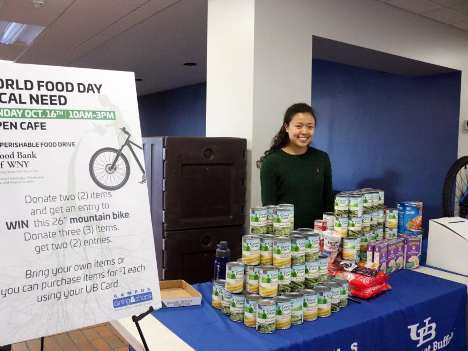 On Monday, members of the UB community gathered next to Capen Cafe to raise awareness for national hunger and sustainability. There was a food drive that will benefit the University Presbyterian Church, which supports UB students and local communities around South Campus.