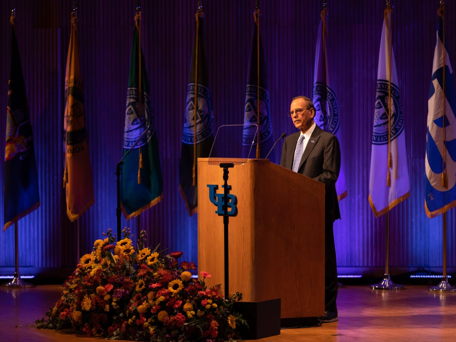 President Satish Tripathi gave his annual State of the University address on Friday at Alumni Arena.
