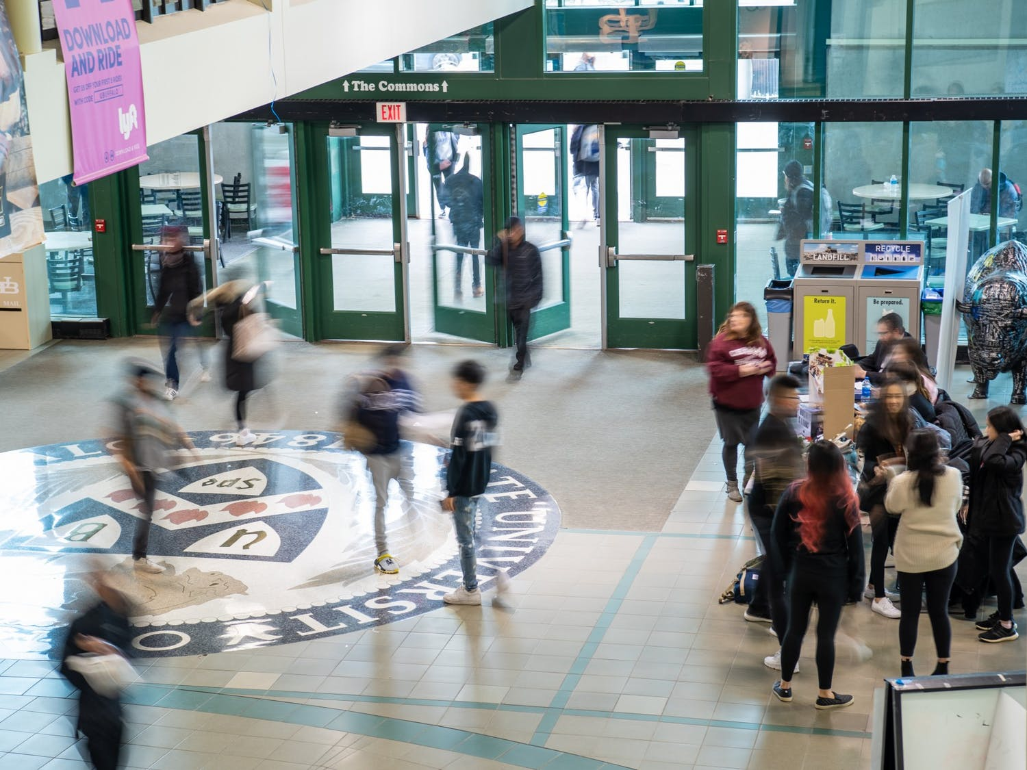 Students walking in the Student Union.