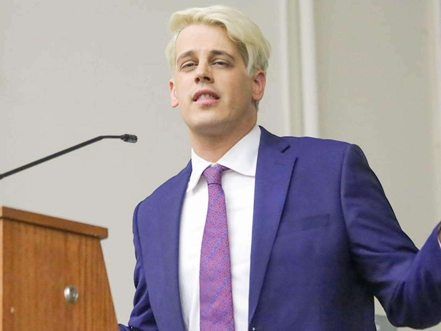 Controversial journalist Milo Yiannopoulos speaks at Rutgers University in February, where students protested his speech. Young Americans for Liberty is planning to bring Yiannopoulos to UB, causing concern for some students.