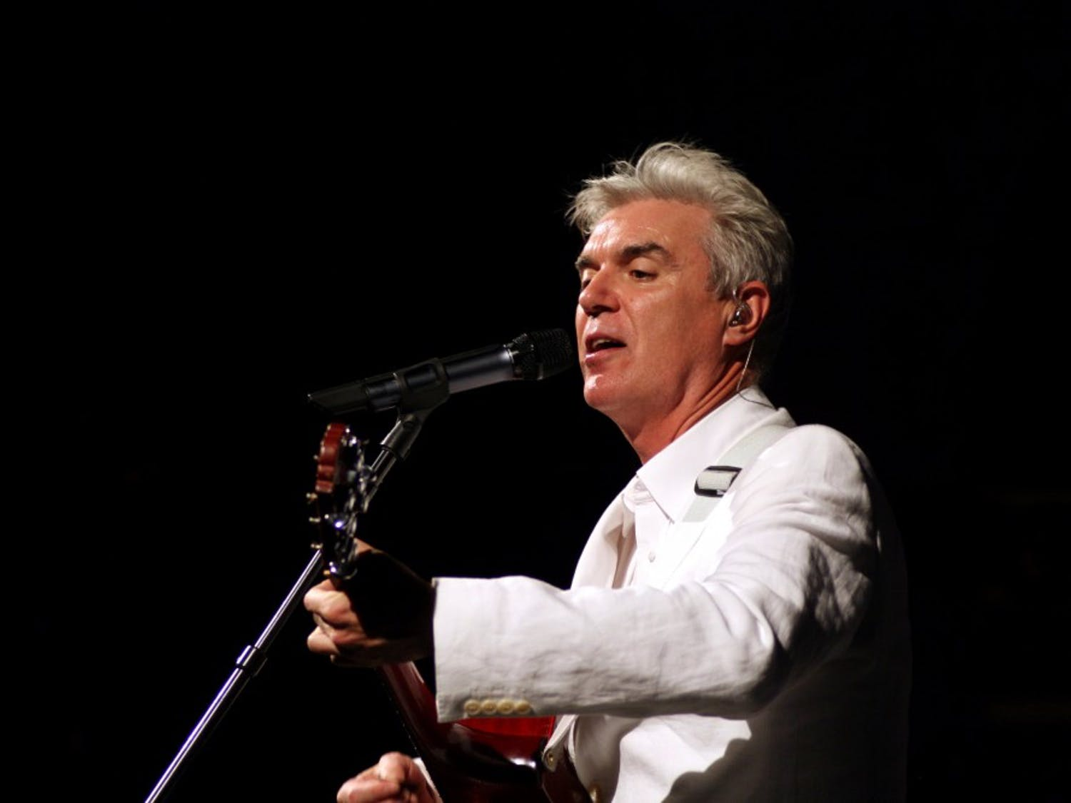 Former Talking Heads frontman David Byrne performed Tuesday night at the Center for the Arts. Byrne played classics from his seminal band as well as modern collaborations and a Janelle Monáe protest song.