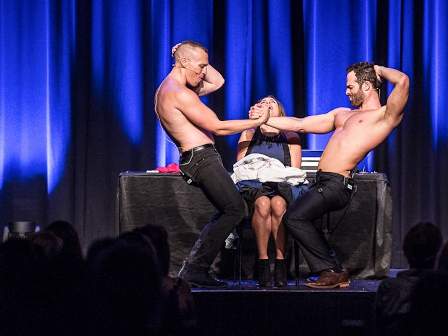 Two Australian magicians, Mike Tyler and Christopher Wayne, star in the world-renowned magic show, 'The Naked Magicians.'